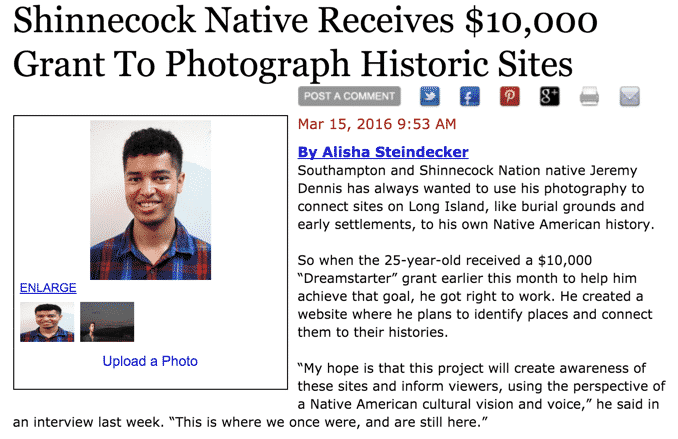 27East News – Shinnecock Native Receives $10,00 Grant to Photograph Historic Sites